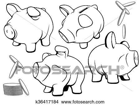 Clipart Of Piggy Bank K36417184