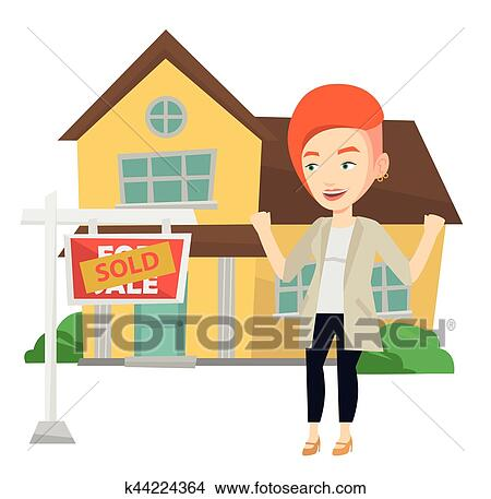 clipart of real estate agent signing contract k44224364 search rh fotosearch com real estate agent clipart real estate clip art black and white