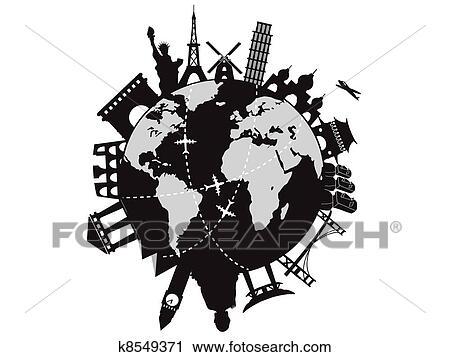 Clipart Of Travel Around The World K8549371