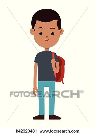Clipart Of Back To School Boy Red Bag Smile Black Hair K42320481