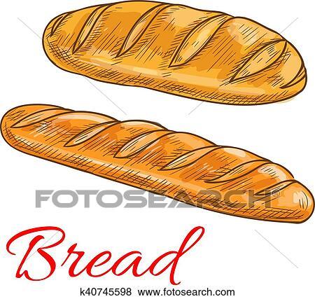 Bread حنطة الرغيف أيضا Baguette رسم الإيقونات Clip Art K40745598 Fotosearch