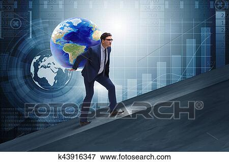 stock illustration of businessman carrying earth on his shoulders