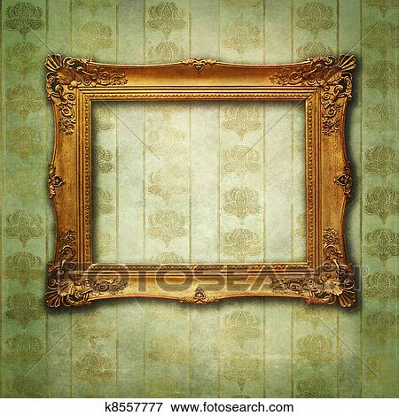 Stock Illustration Of Empty Golden Frame On Victorian Floral Green