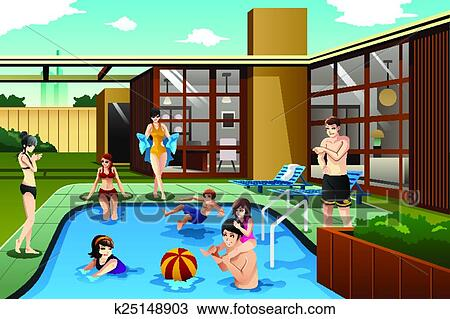 Clipart of Family and friends spending time in the ...