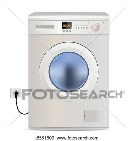 Waschmaschine clipart  Clip Art - waschmaschine, freigestellt, weiß k8551809 - Suche ...
