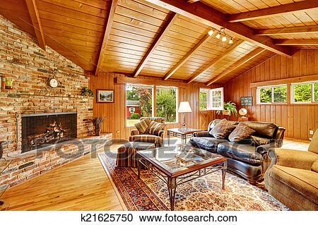 Blockhaus, Haus, Innere, Mit, Gewölbt, Ceiling., Luxus, Wohnzimmer, Mit,  Kaminofen, Leder Couch, Und, Glas, Oberseite, Couchtisch