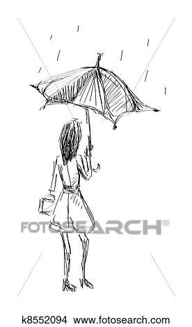 Mädchen Halten Schirm Skizze Hand Ziehen Clipart K8552094
