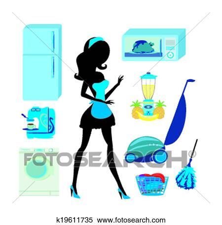 Möbel, küche, und, putzen, -, satz Clipart