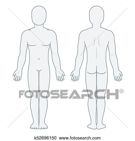 Male Body Front And Back View Blank Man Template For Medical Infographic Isolated Vector Illustration