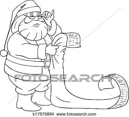 a vector illustration of santa claus holding and reading from his christmas list of good and bad children