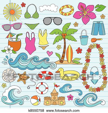 summer beach hawaiian doodles clip art k8550758 fotosearch