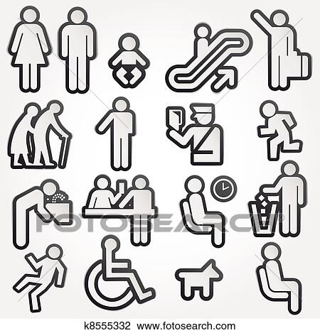 Clip Art Of Vector Illustration Schematic Icons K8555332