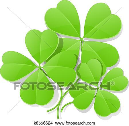 Populair Vier bladeren klaver, voor, heilige dag van patrick Clipart @VR19
