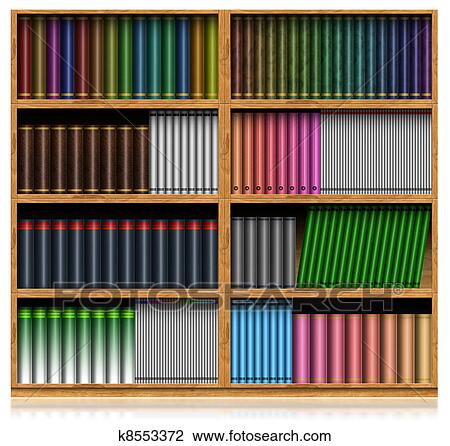 Clip Art Of Wooden Bookshelf Isolated On White K8553372