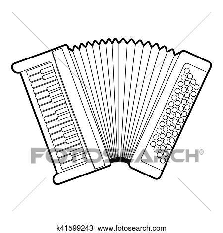 Dessin Accordéon dessin - accordéon, icône, contour, style k41599243 - recherchez des