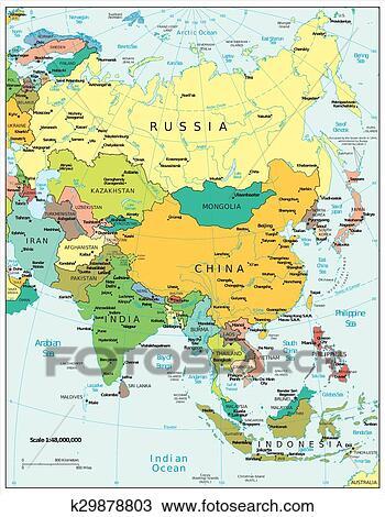 Asia Politica Cartina.Asia Political Divisions Map View Clipart K29878803