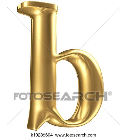 Drawings Of Golden Matt Lowercase Letter B In Perspective Jewellery