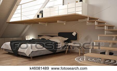 Banque d\'Illustrations - grenier, mezzanine, scandinave, minimaliste ...