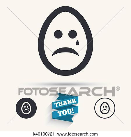 Clipart Of Sad Egg Face With Tear Sign Icon Crying Symbol