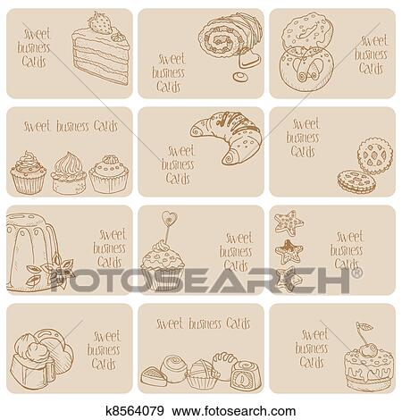 Clip Art Of Set Of Business Cards Cakes Sweets And Desserts