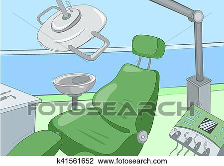 Clip Art Of Cartoon Background Of Dentist Office Interior K41561652