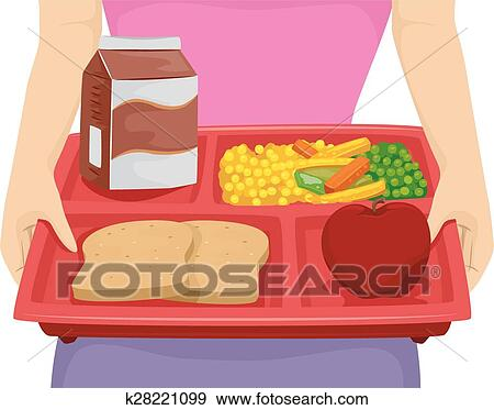 clip art of diet lunch tray k28221099 search clipart illustration rh fotosearch com Cafeteria Tray Clip Art Lunch Clip Art