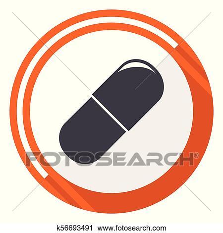 drugs flat design orange round vector icon in eps 10 clipart k56693491 fotosearch fotosearch