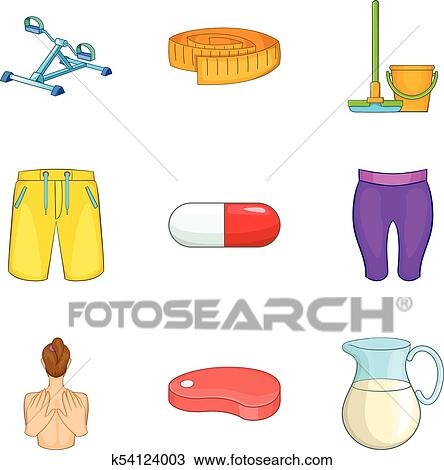 Exercise Equipment Icons Set Cartoon Style Clipart K54124003 Fotosearch
