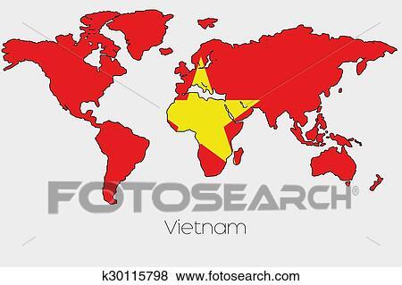 Stock Illustration Of Flag Illustration Inside The Shape Of A World