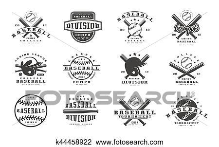 Clipart - insignias, conjunto, de, equipo béisbol k44458922 - Buscar ...