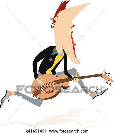 clipart of jumping guitar player k41491491 search clip art rh fotosearch com cartoon guitar player clipart free mexican guitar player clipart