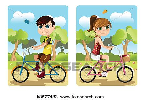 Clipart Of Kids Riding Bicycle K8577483