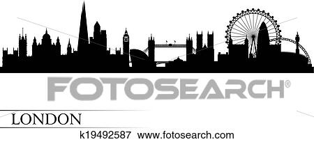 Clip Art Of London City Skyline Silhouette Background K19492587