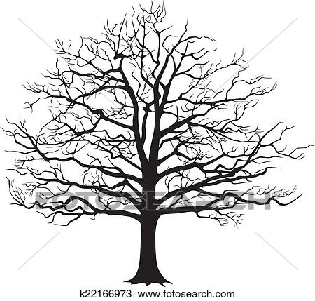 Clipart noir silhouette arbre nu vecteur - Dessin arbre nu ...