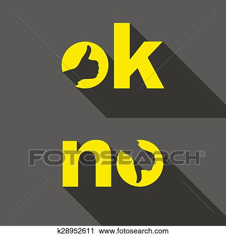 Clipart Ok And No Symbol Signs Thumb Up Down Icons Fotosearch