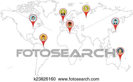 World Map Gps.Clipart Of People Pin Gps Location On World Map Outline Isolated