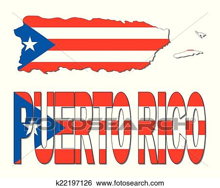 clip art of puerto rico map flag and text k22197126 search clipart rh fotosearch com puerto rico clip art free puerto rico flag clip art