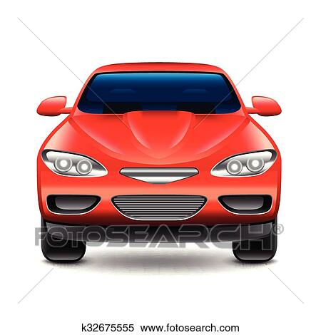 Clipart Of Red Car Front View Isolated On White Vector K32675555