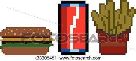 Restauration Rapide Dans Pixel Art Style Clipart