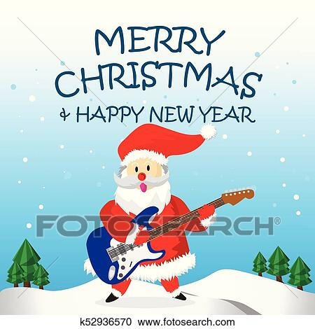 santa play electric guitar and merry christmas cartoon clipart k52936570 fotosearch fotosearch