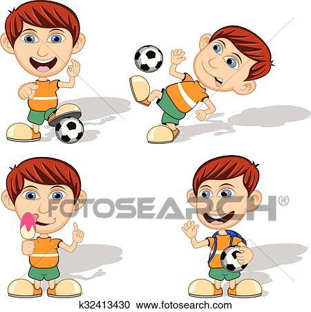 Satz Von Kinder Spielen Fussball Clipart K32413430
