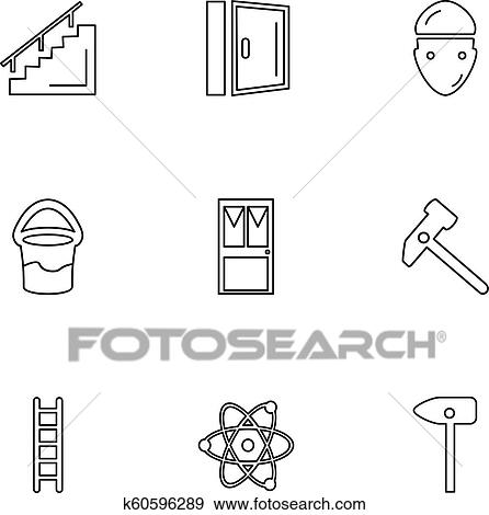 Stairs, door, ladder, nuclear, hamer, hardware, tools, constructions,  labour, eps icons set vector Clip Art