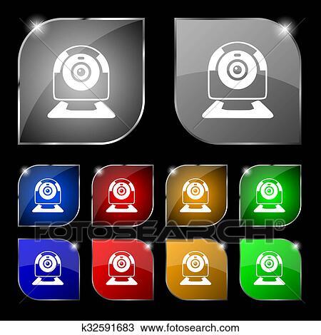 Webcam Senal Icon Tela Video Charla Simbolo Camara Chat