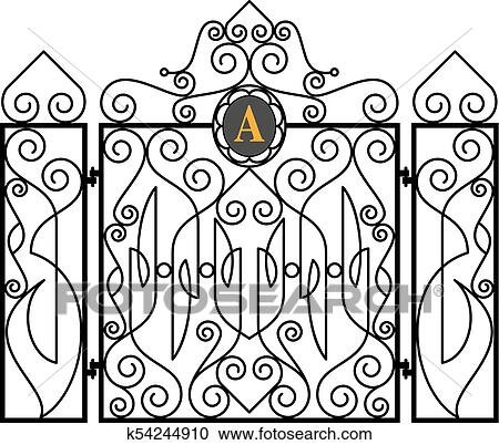 Wrought Iron Fireplace Screen Vector Illustration Clipart