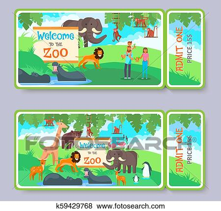 clip art of zoo admission ticket vector template set k59429768