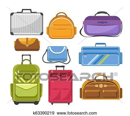 f69efb0b1 ... escuela, mochila, o, mujer, moda, bolso, y, empresa / negocio, caso, o,  maleta, y, deportes, bag., vector, caricatura, plano, aislado, iconos,  conjunto