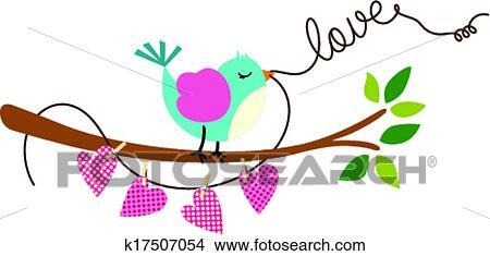Clipart Of Cute Love Bird On Branch Tree K17507054 Search Clip Art