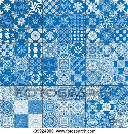 Ensemble De Classique Bleu Carreaux Céramique Dessin