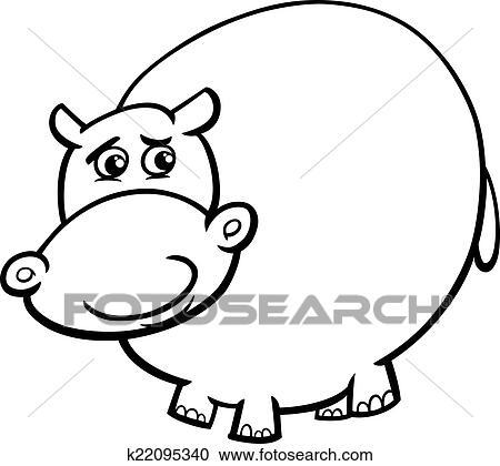 Clipart - nilpferd, karikatur, färbung, seite k22095340 - Suche Clip ...