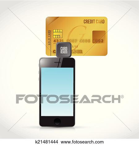 clipart phone credit card reader illustration design fotosearch search clip art illustration - Credit Card Swiper For Phone